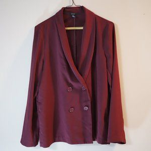 Double Breasted Blazer in Burgundy